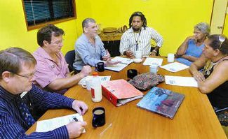 Scrub Hill Indigenous Education Forum. Attending: Sandy Strait State School principal Shane Urquhart, Fraser Coast councillor David Dalgleish, Paul Herschell and Will Davis of Qld Studies Authority with Butchulla elder Frances Gala and Butchulla community linguist Joyce Bonner. Photo by Daniel Tweed