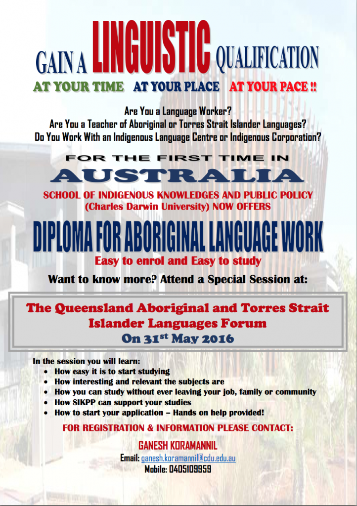 Diploma for Aboriginal language work